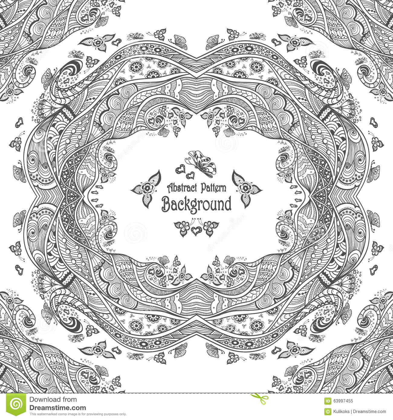 Abstract Circle Coloring Pages : Abstract circle frame with pattern background in zen