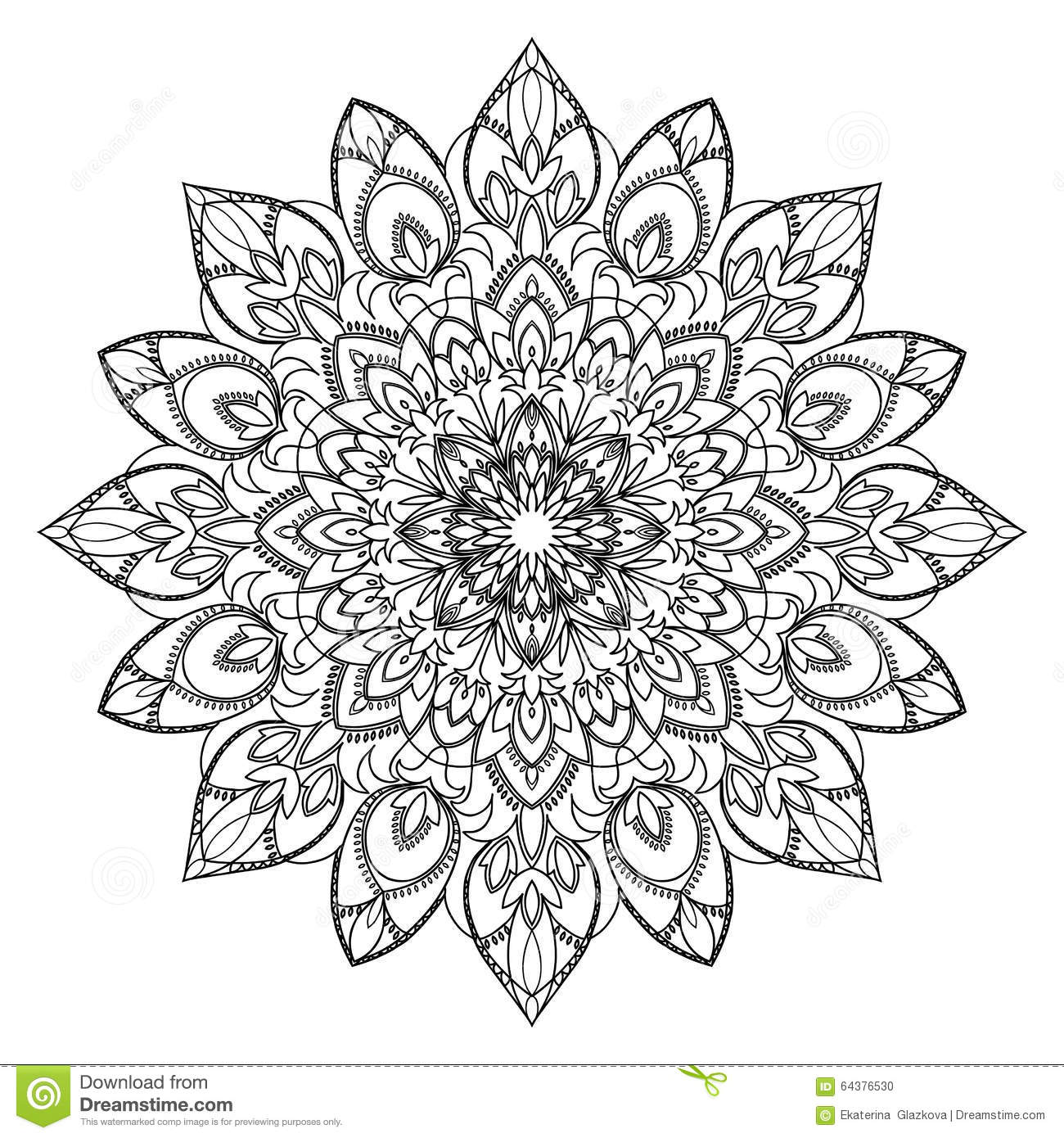 Abstract Circle Coloring Pages : Abstract circle ornament stock vector image of floral