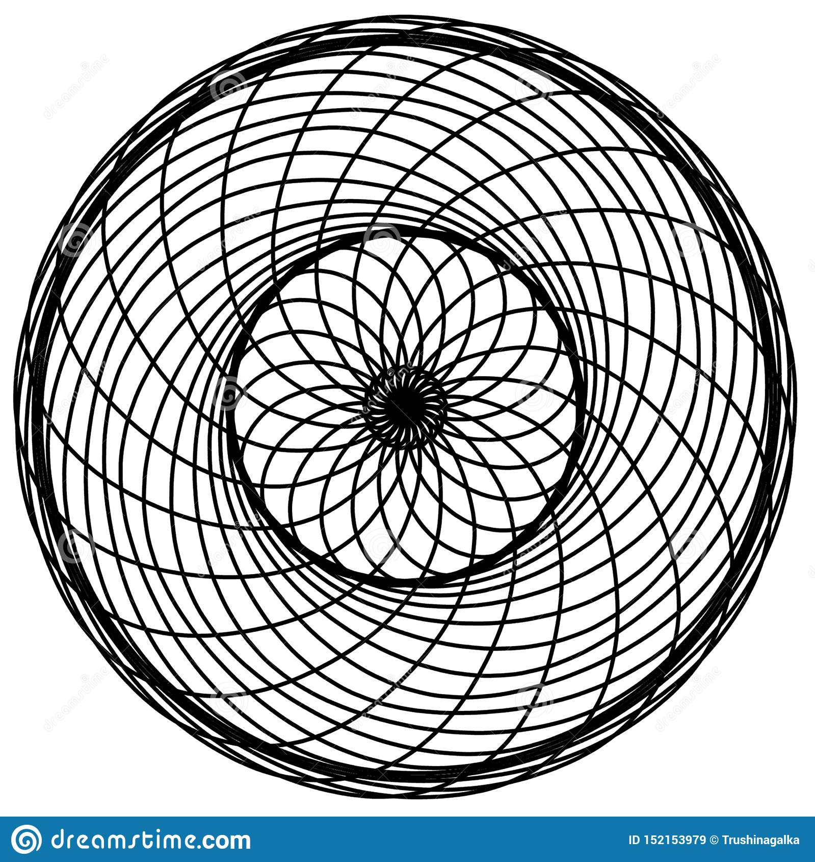 Abstract circles elements. Dreamcatcher. Astrology, spirituality, magic symbol. Ethnic tribal element