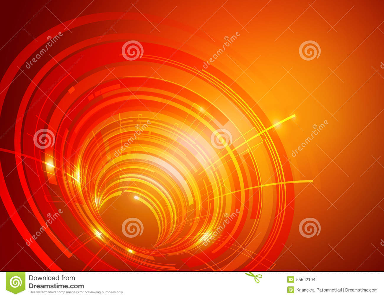Technology Abstract Background Stock Illustration: Abstract Circles Technology Orange Background Stock Vector