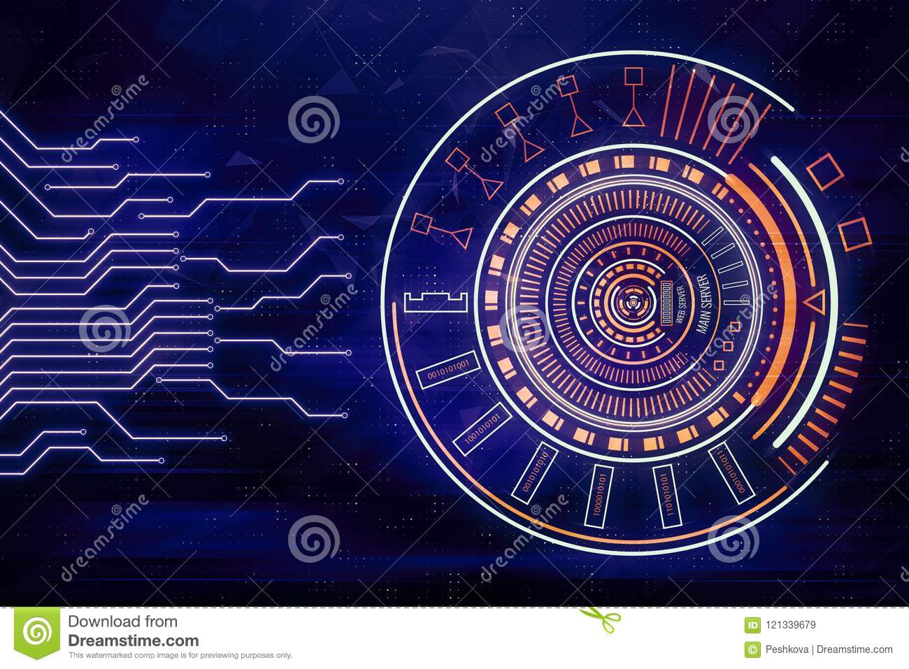 Abstract Circuit Board And Button Stock Illustration Boards With Clock Hands Royalty Free Image