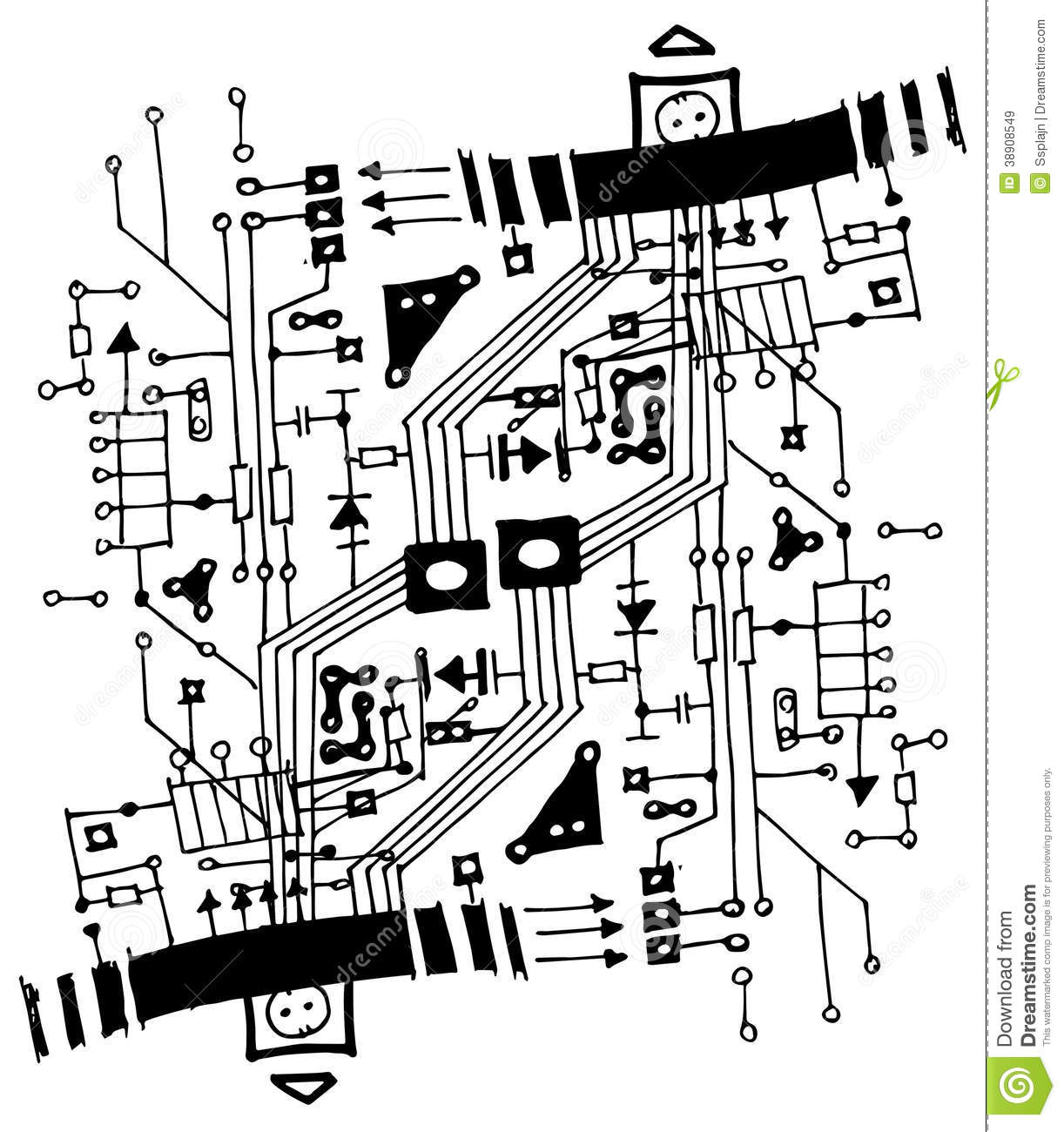 abstract circuit board illustration stock illustration