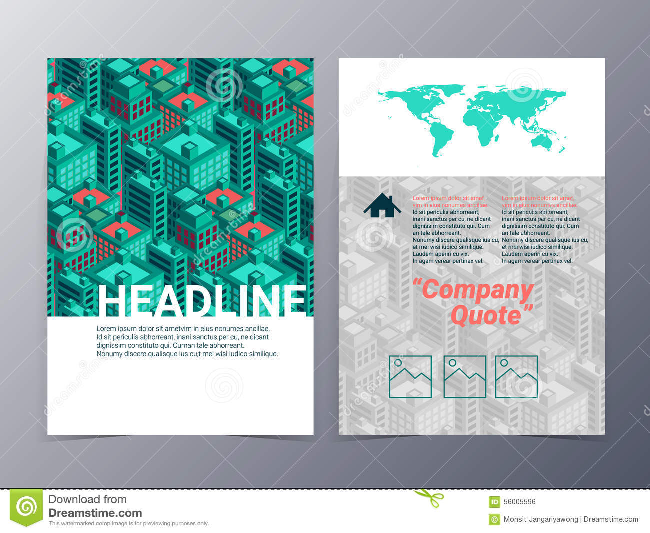 abstract city building geometric pattern brochure design