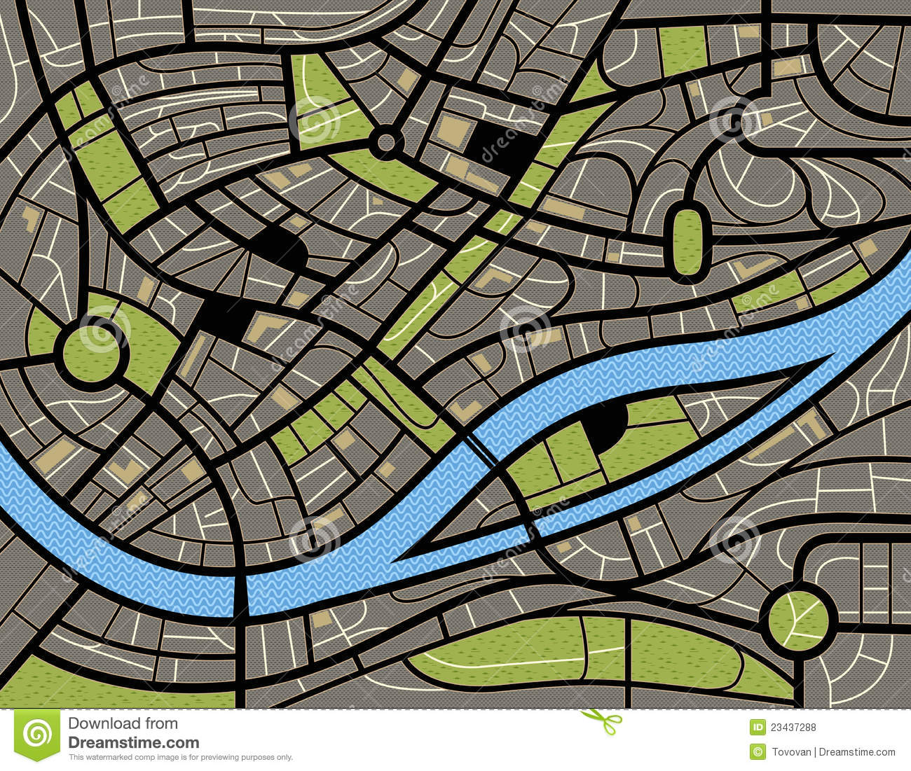 Abstract City Map Illustration Royalty Free Stock Photos