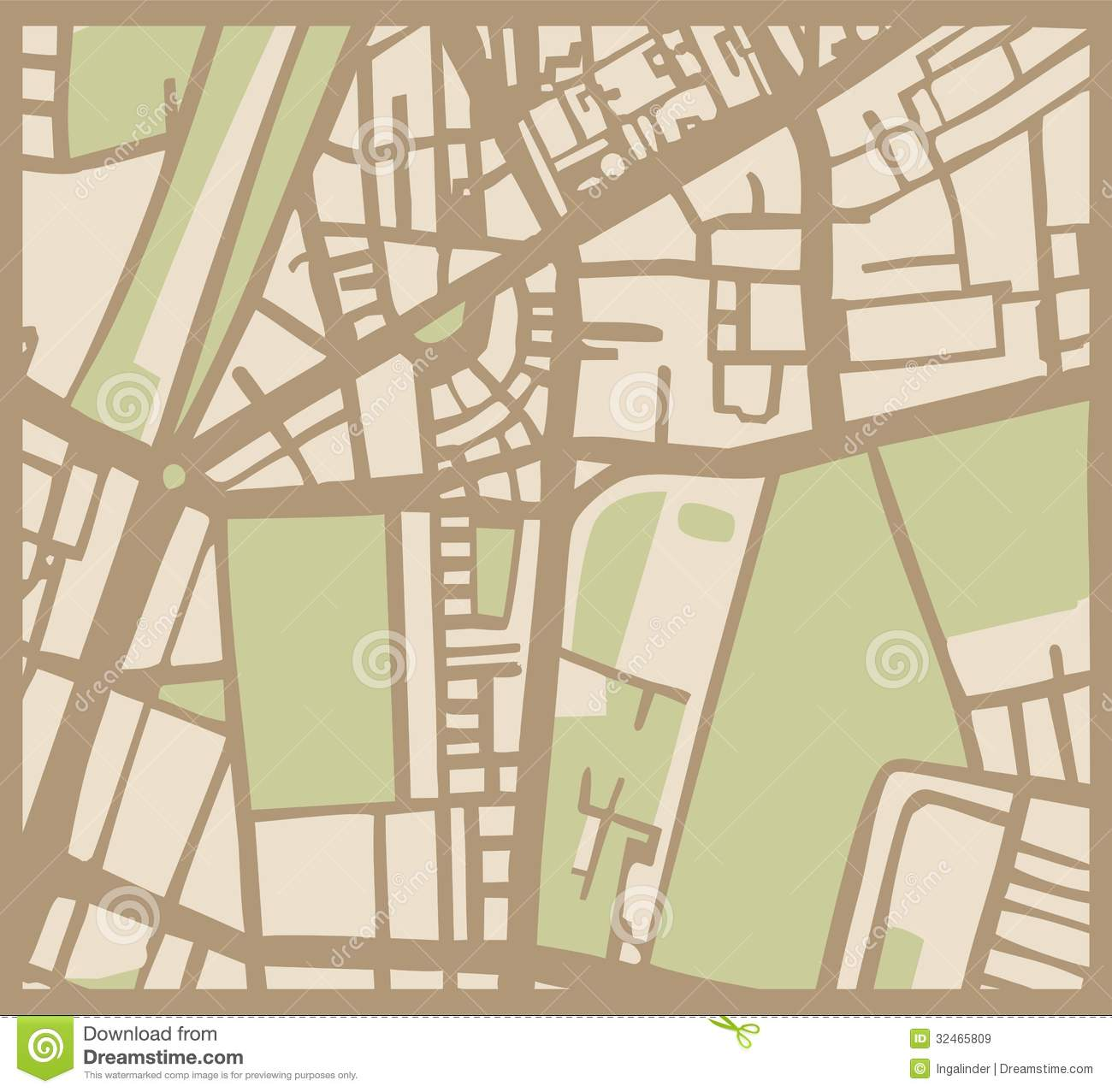 Abstract Vector City Map With Streets  Buildings A Royalty