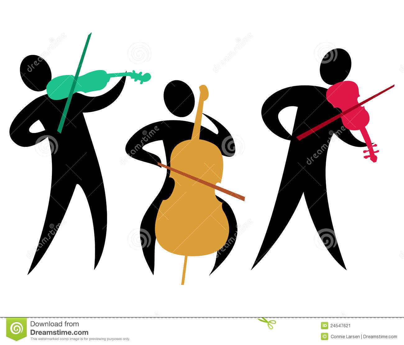 Colorful abstract illustration of a classical string trio with two ...