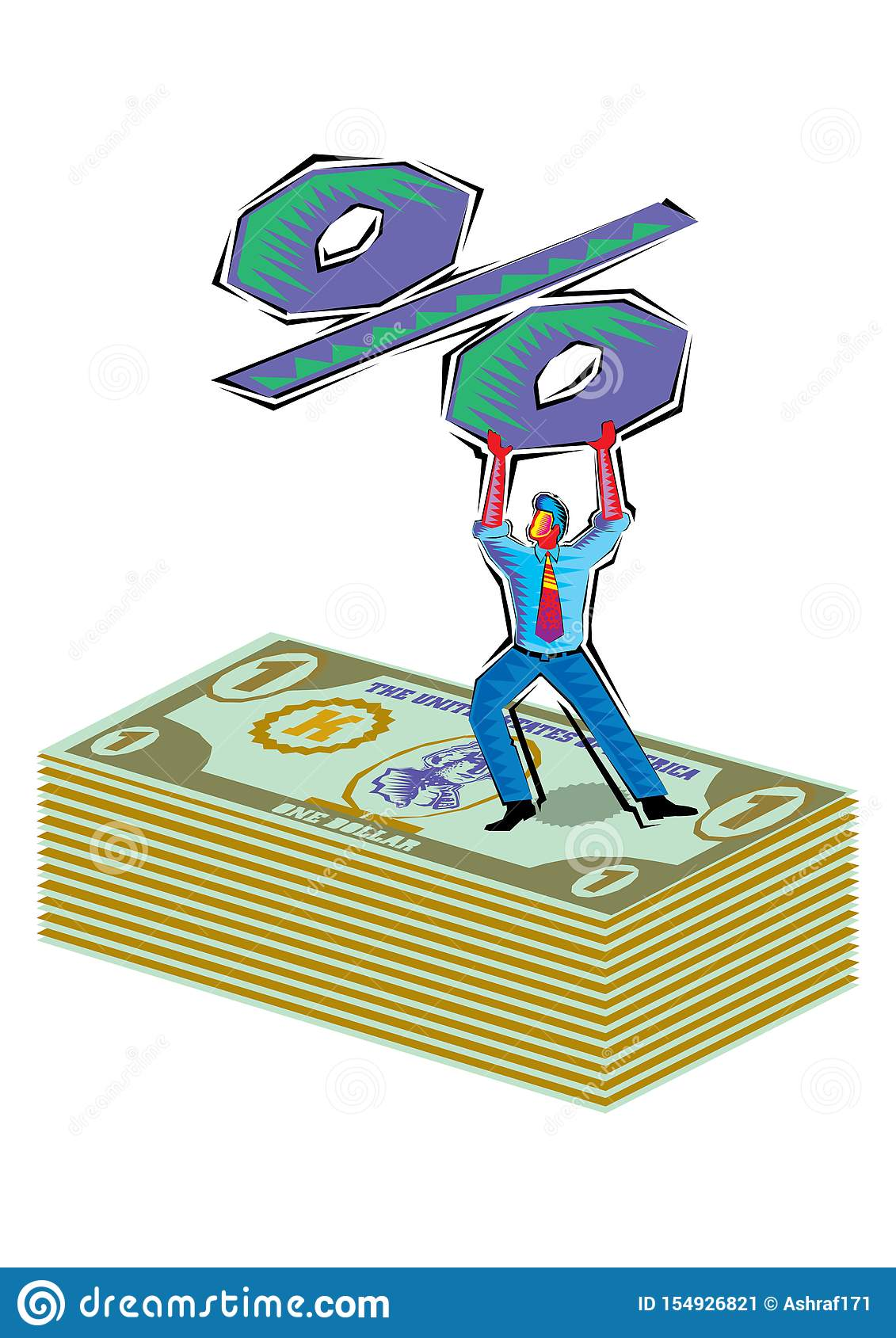 Abstract Clipart of Man holding a percent sign over dollars