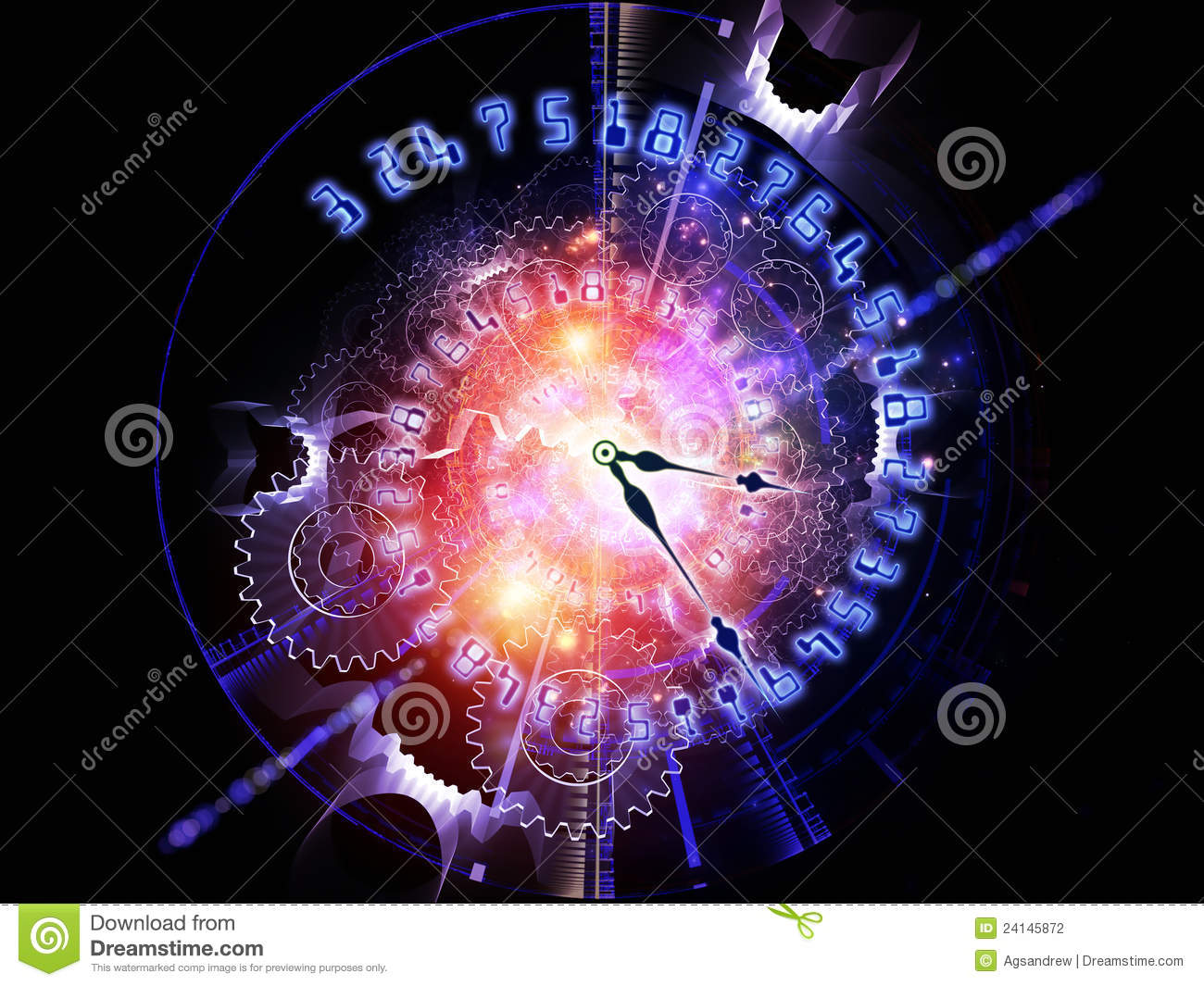 Abstract clock background stock photo image of technology for Time to space