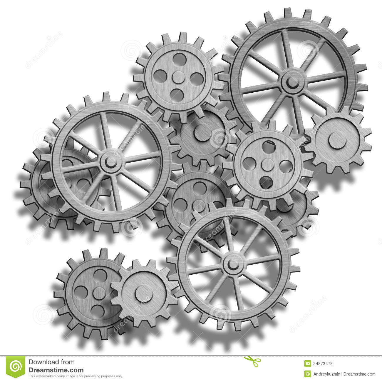 Abstract Mechanical Gears On White Engineering Co Stock Illustration Image 24873478