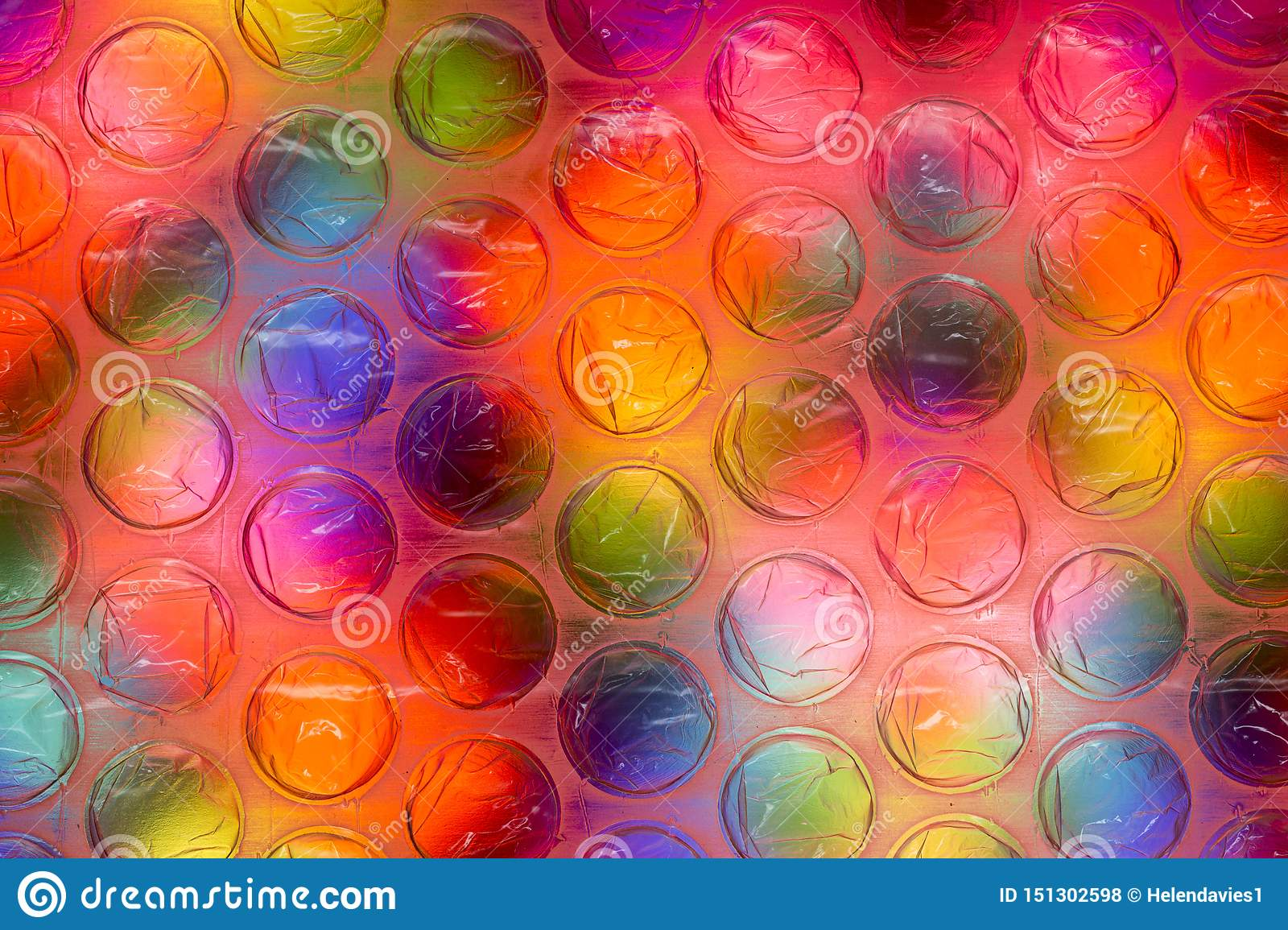 Abstract close up bubble wrap sheet with colorful background