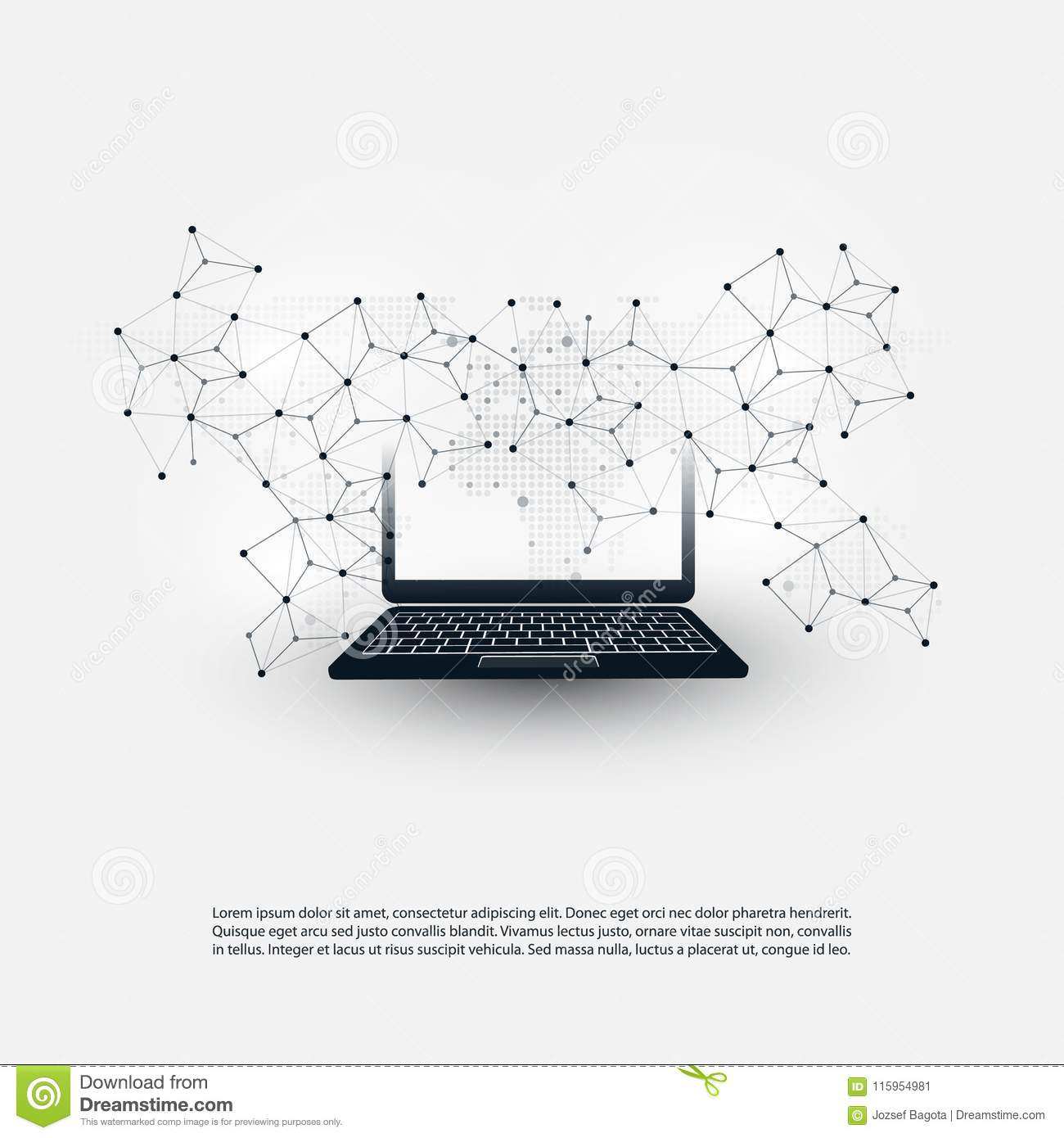 Abstract Cloud Computing And Global Network Connections Concept Connection Diagram Design With Laptop Computer Wireless Mobile Device