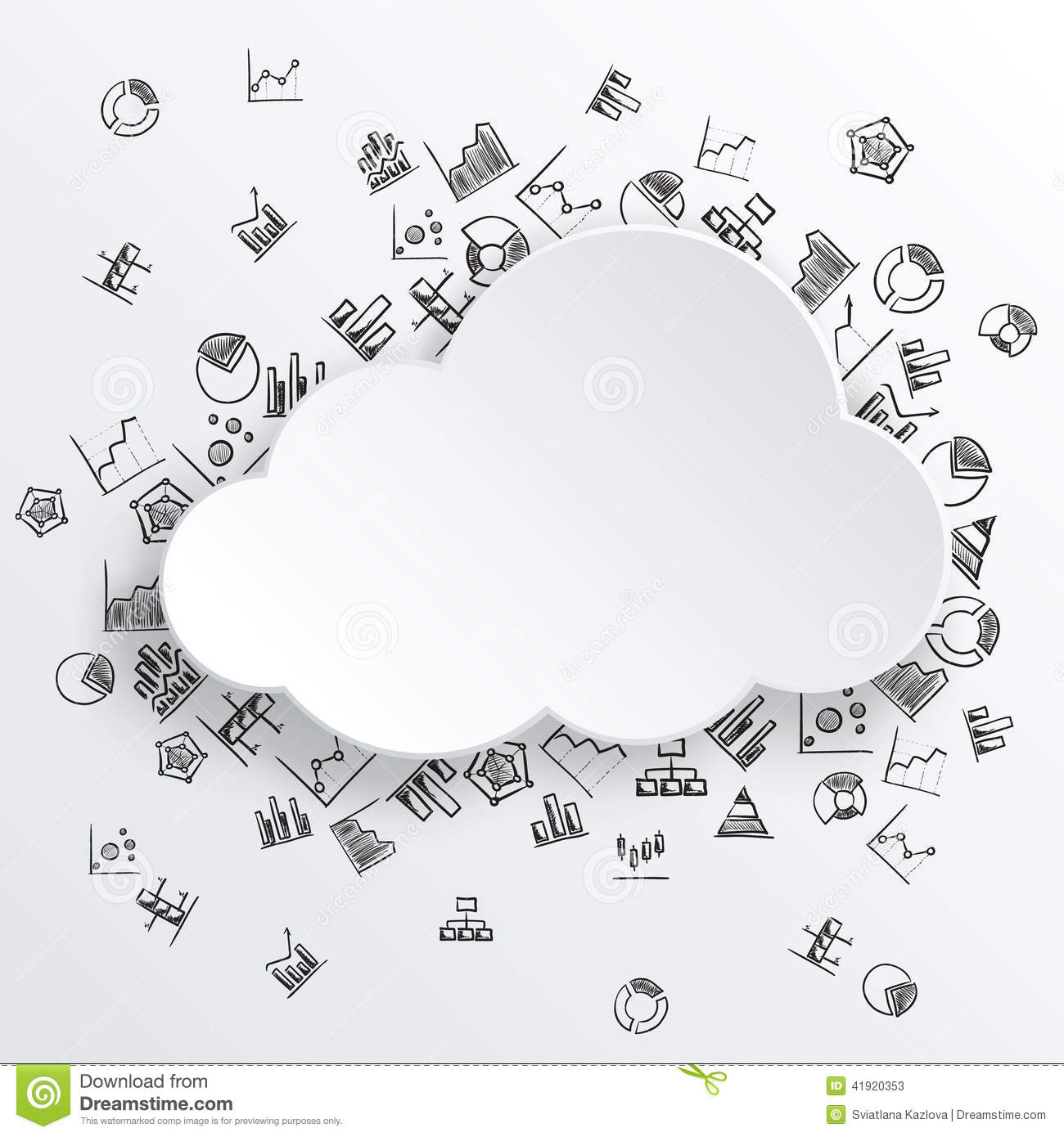 Abstract Cloud With Hand Drawn Diagram Icons Stock Vector