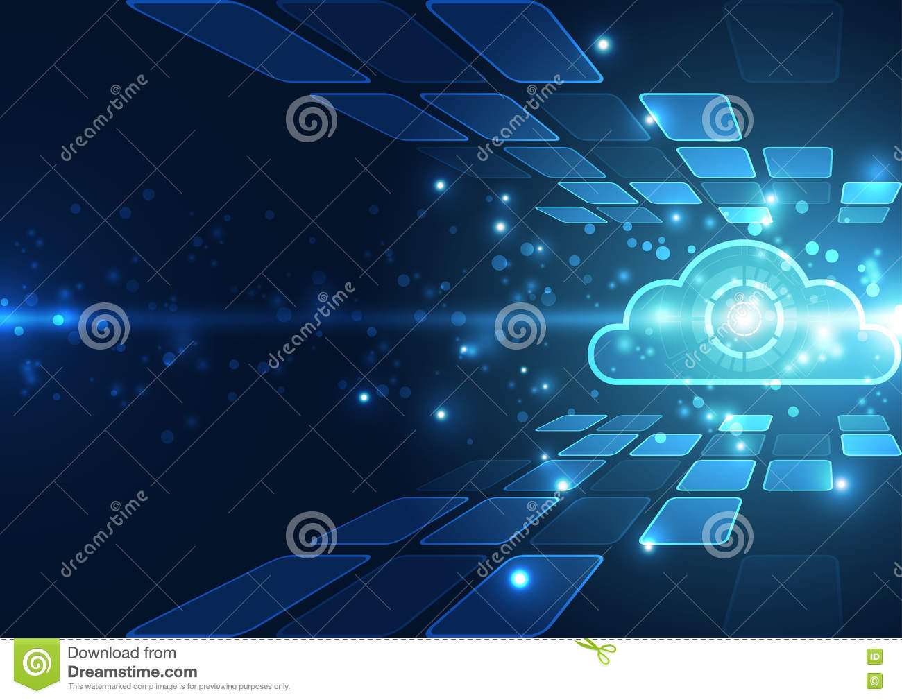 Abstract Cloud Technology In The Future Background Vector Illustration