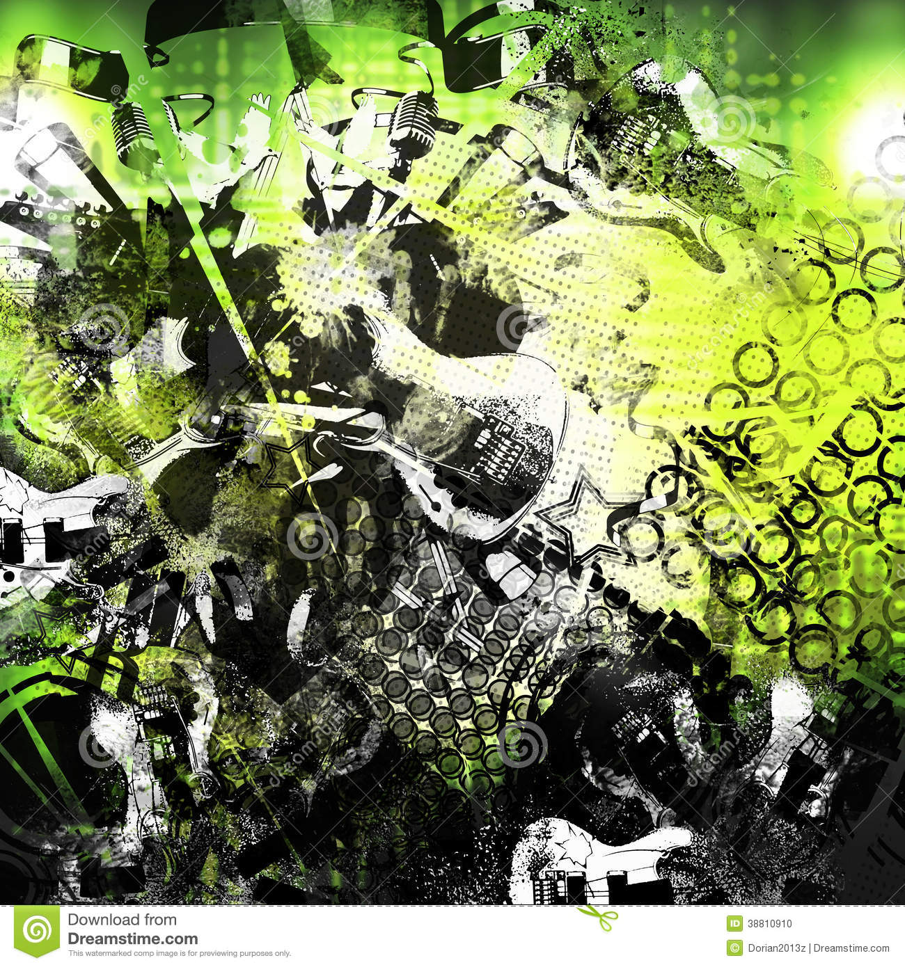 Download Abstract Collage Of Music Stock Illustration Punk