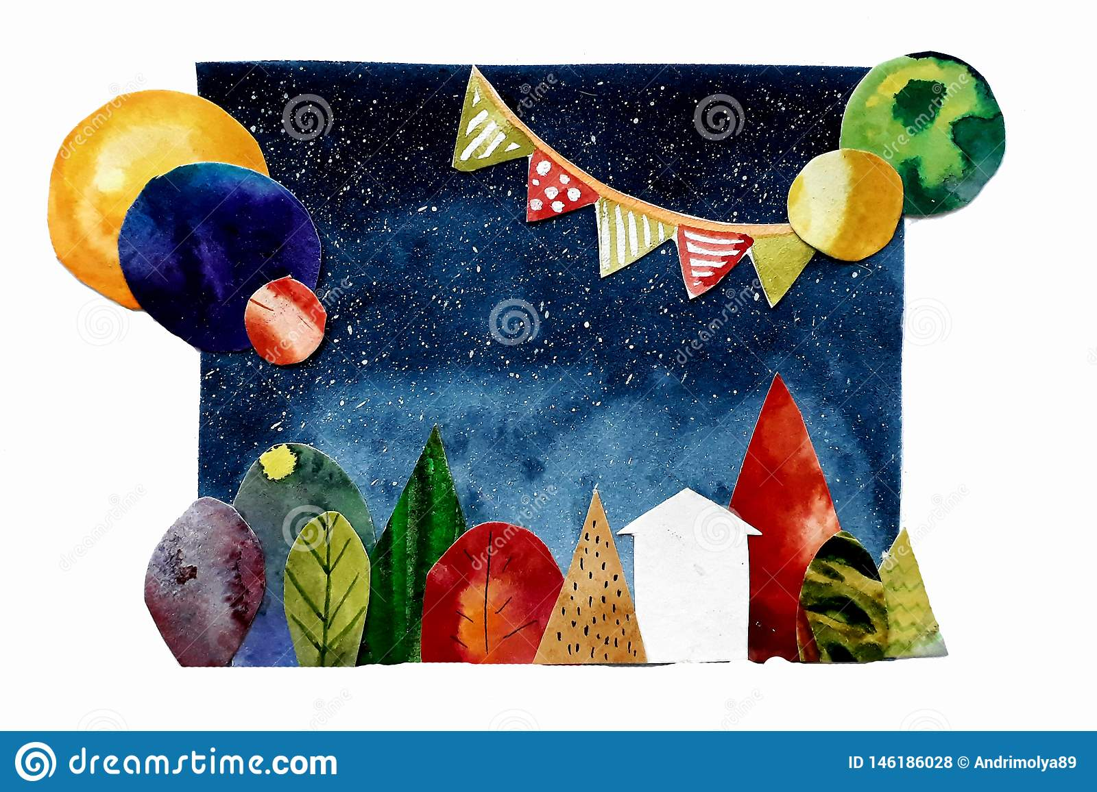 Abstract collage with trees house and planets