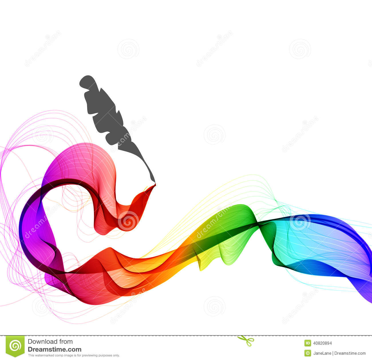 Abstract Color Background With Wave And Feather Pen Stock Vector ...