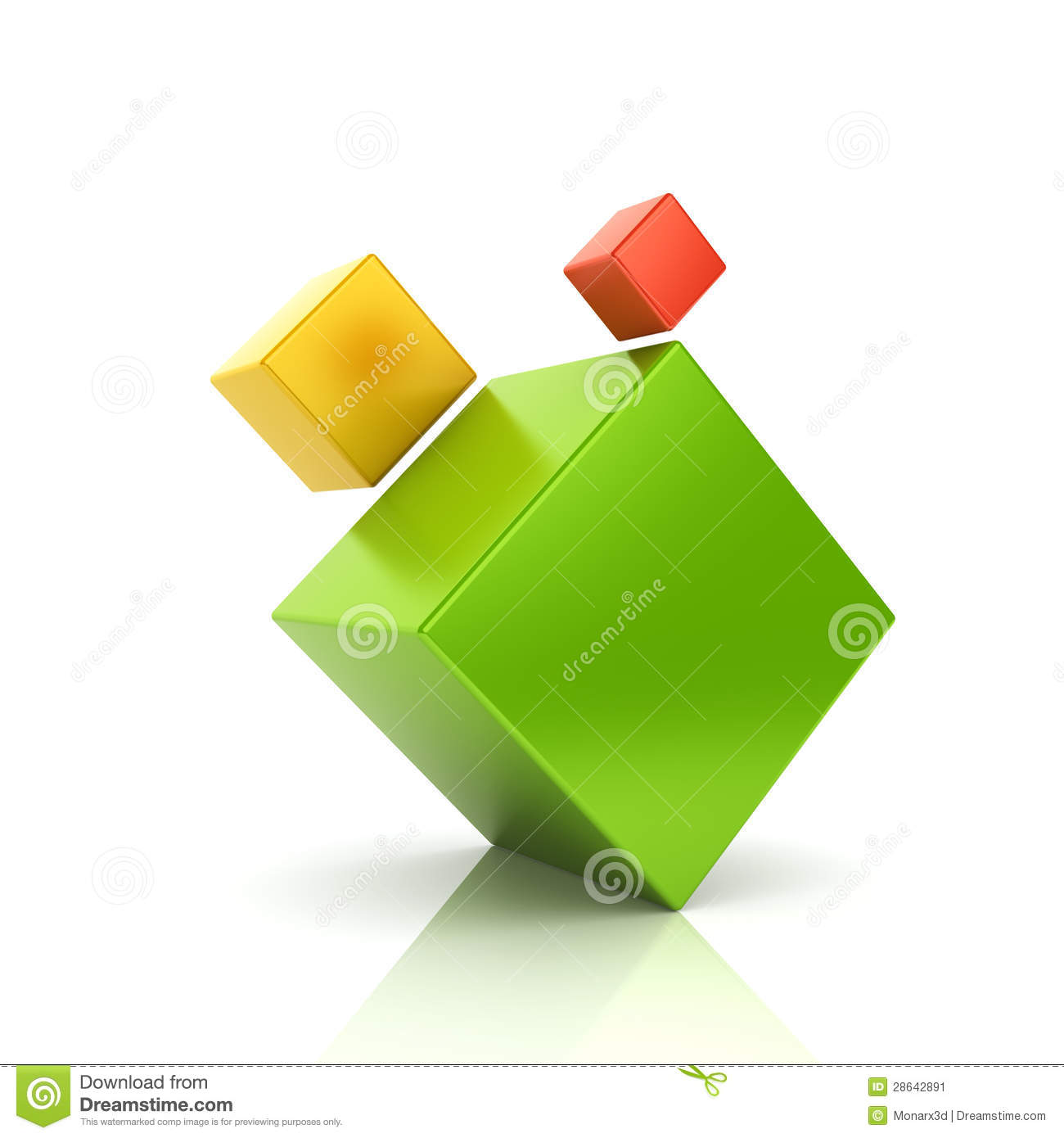 Abstract Color Business Symbol With 3 Cubes Stock Illustration ...