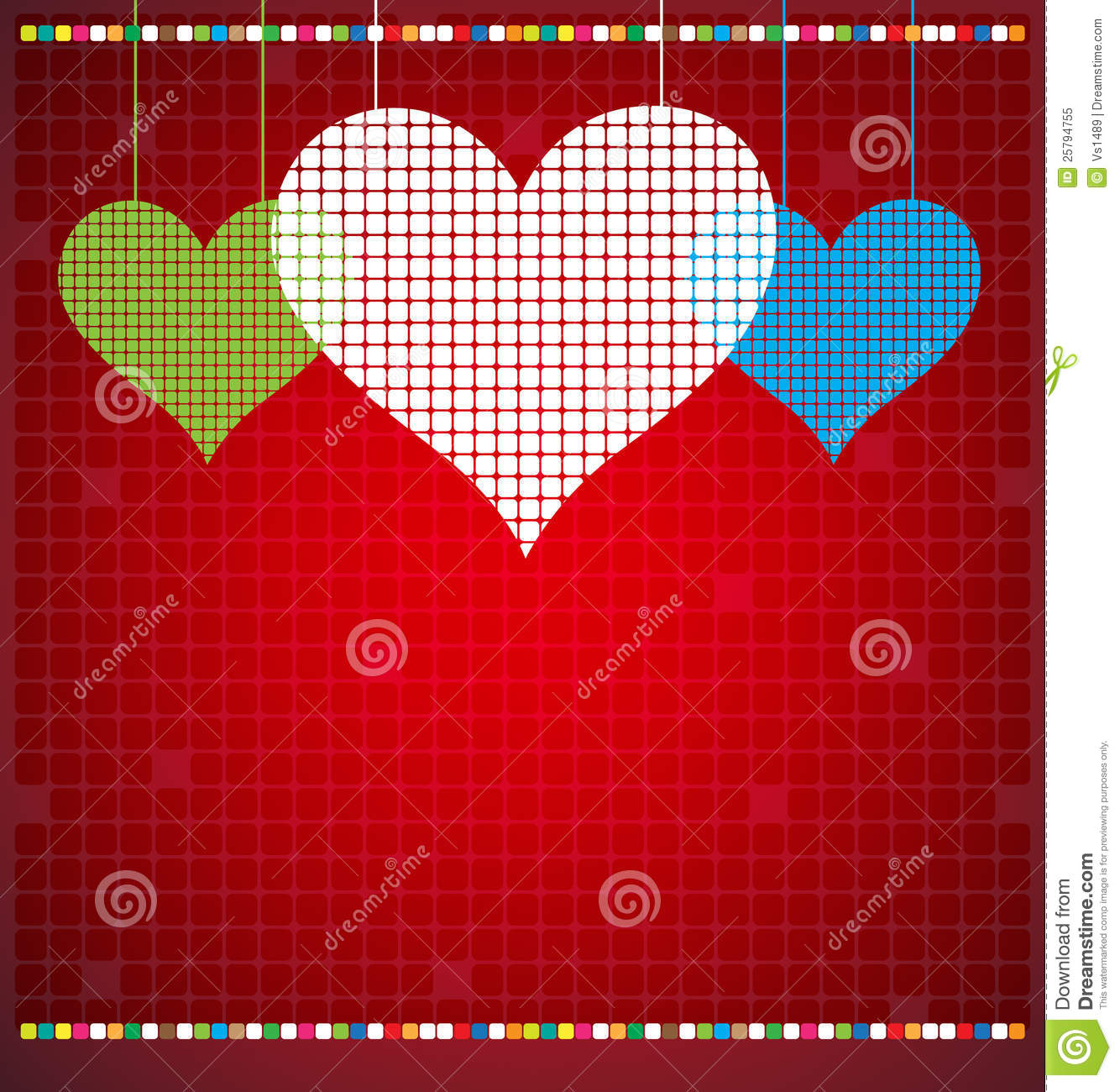 Abstract Color Pixel Heart Mosaic Background Stock Vector