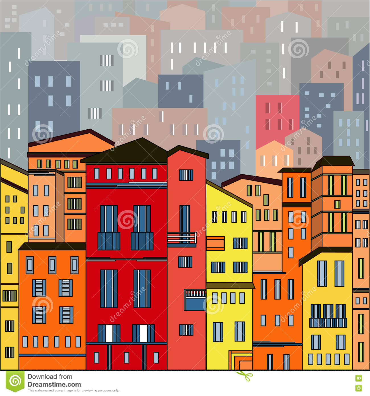Abstract Colored City View In Outlines With Many Houses
