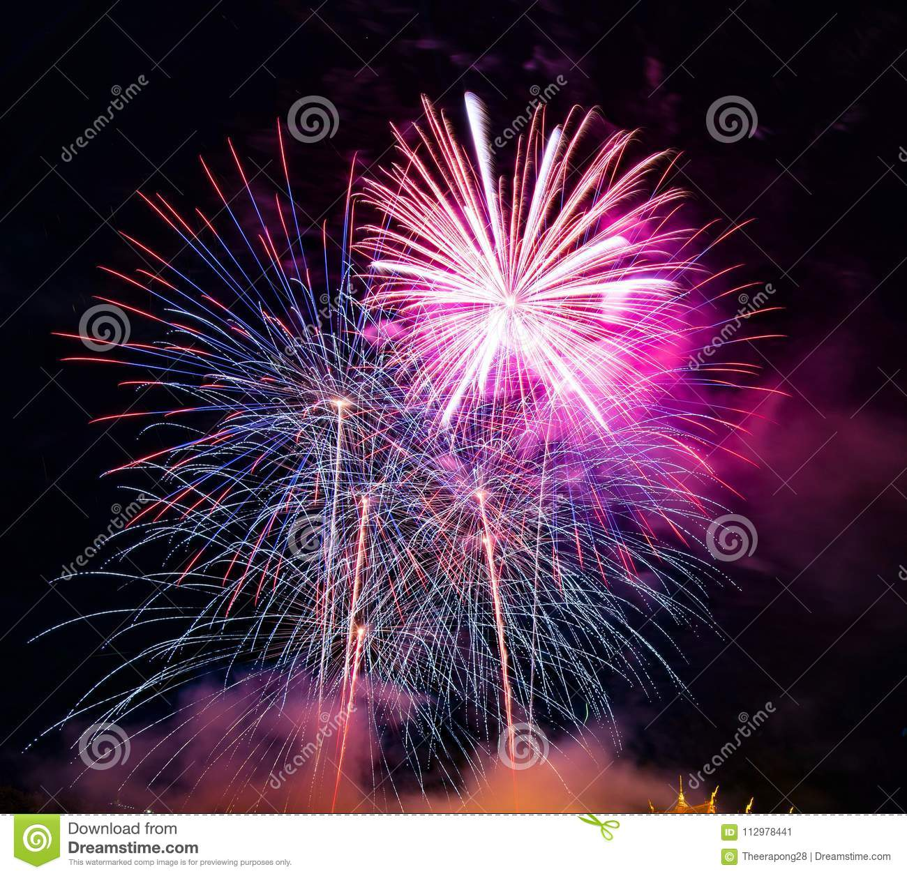Abstract colored firework background used for overlay new year f