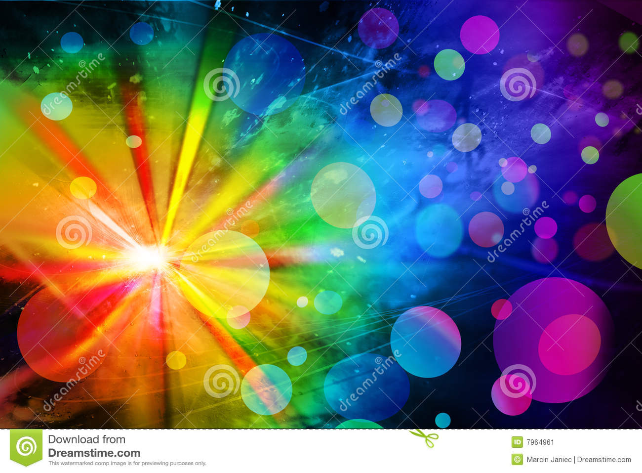 Bright abstract background with large colorful spots and dark ...