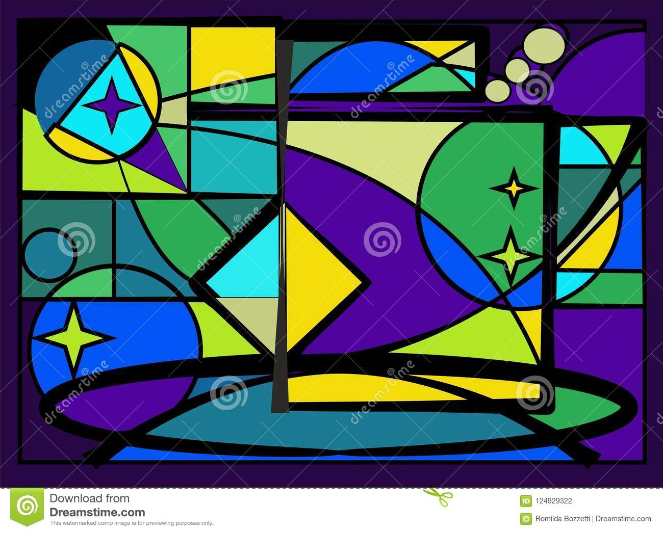 2872db4f Abstract colorful background , blue light, fancy geometrics shapes,stained  glass window - 18. Download preview