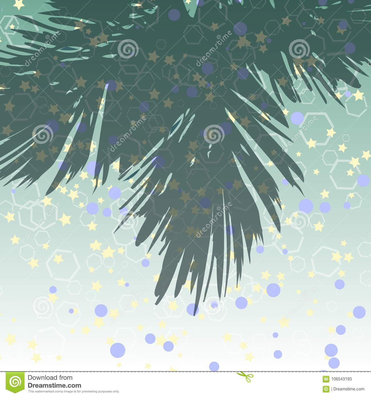 Abstract colorful background with with stars, circles and hexahedrons and a branch of a Christmas tree
