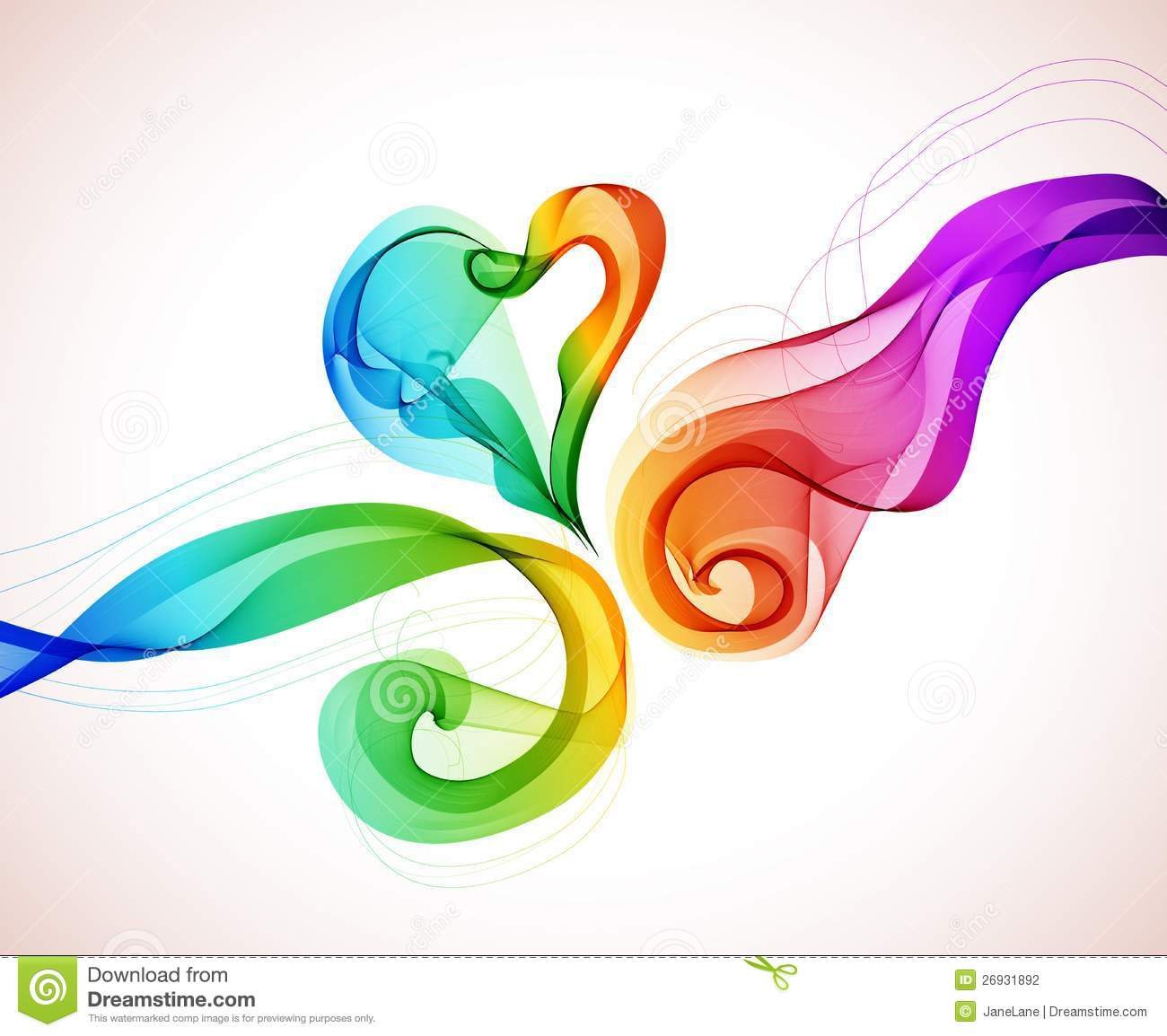 Abstract colorful background with wave and heart