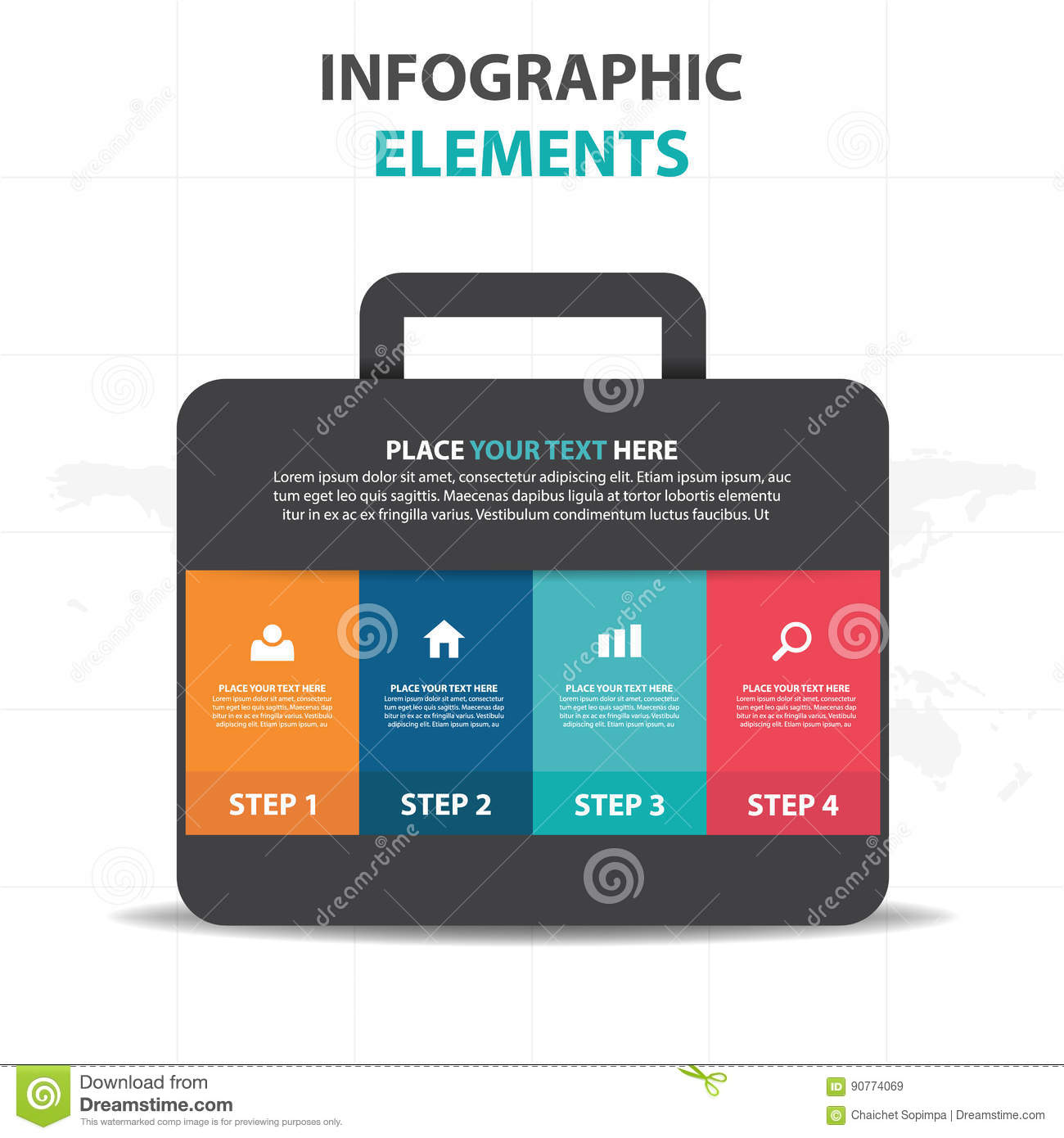 abstract colorful bag suitcase business infographics elements, Templates