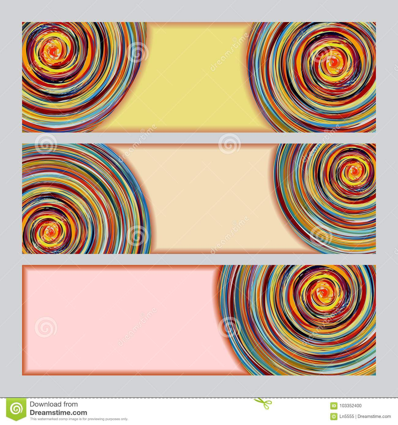 abstract colorful banner templates with swirl design stock vector