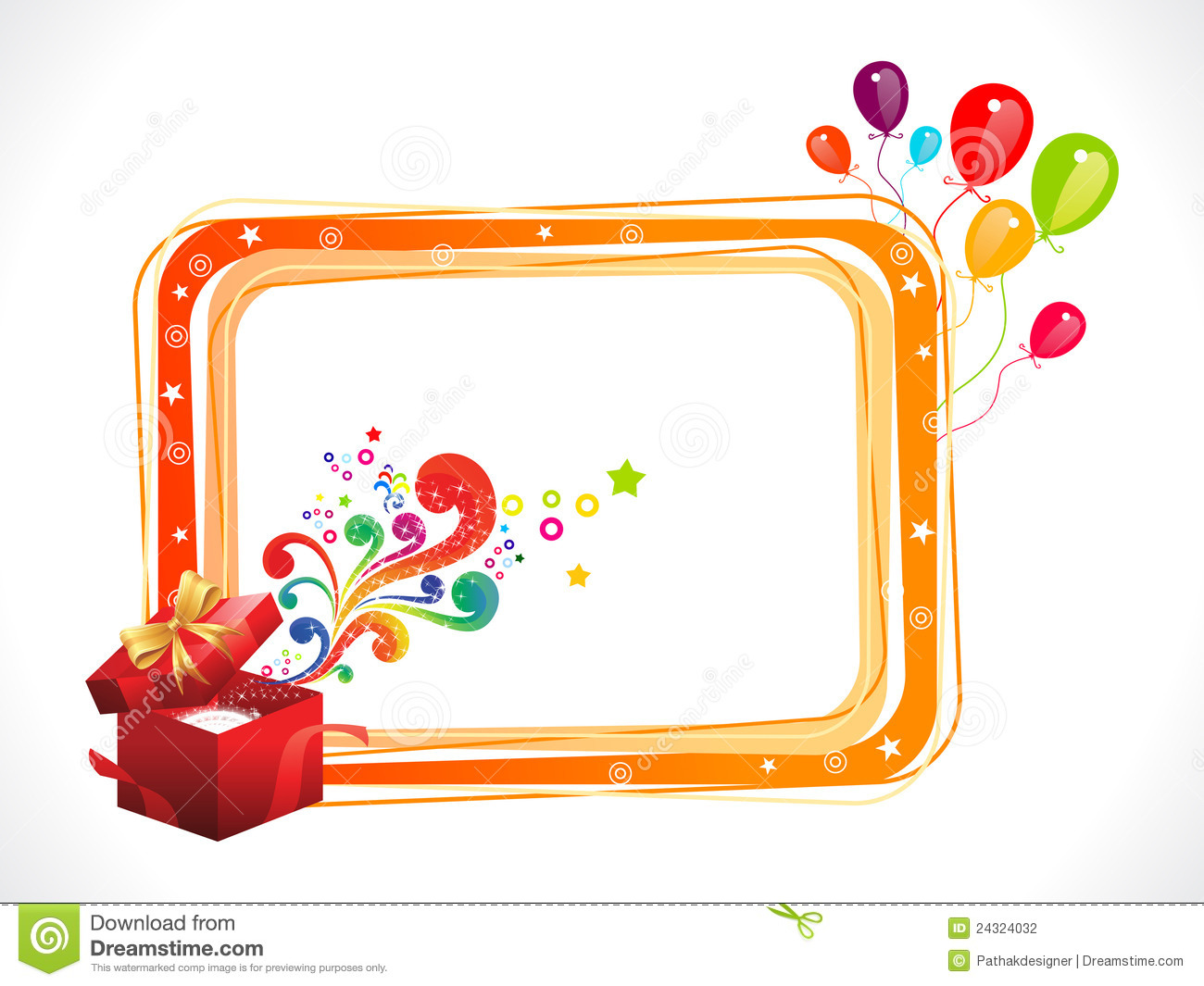 abstract colorful birthday frame with magic box stock photography