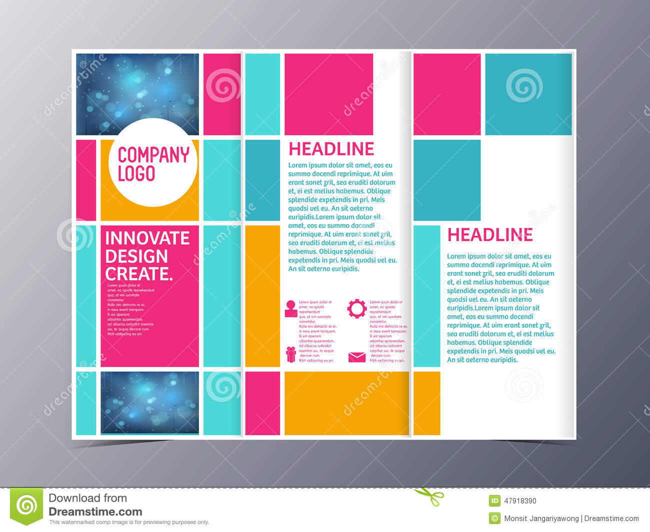 tri fold brochure template design - abstract colorful brochure design template vector tri fold