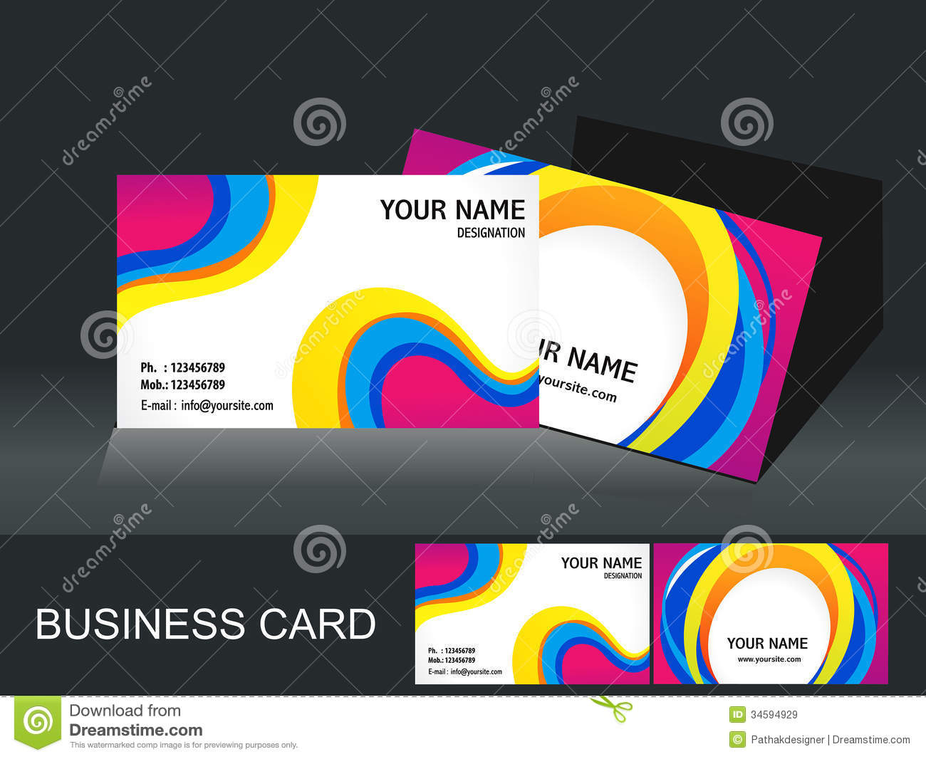 Abstract Colorful Business Card Template Royalty Free Stock Images ...