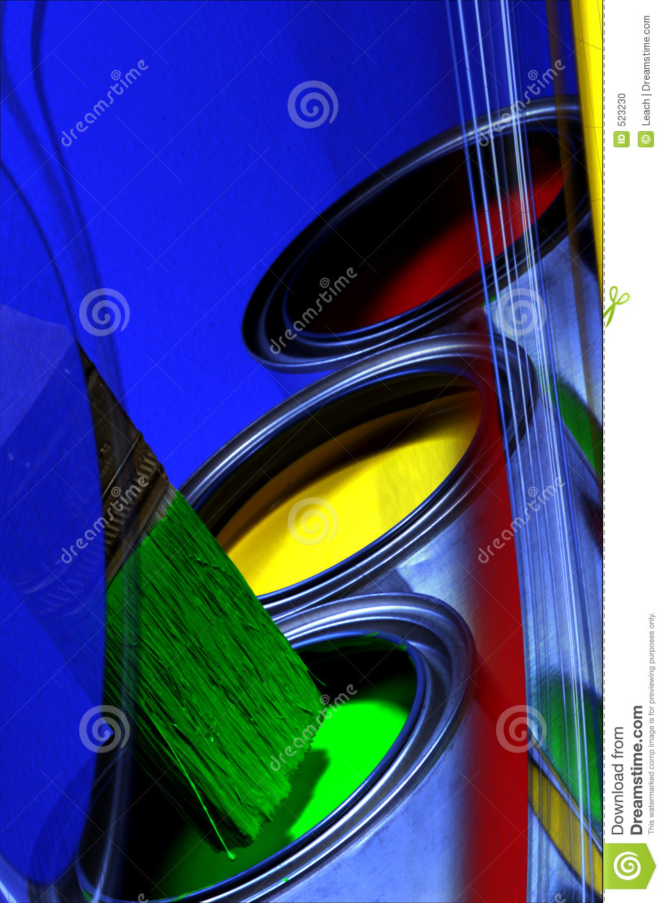 Abstract Colorful Cans of Paint, Primary Colors & Paint Brush, Y