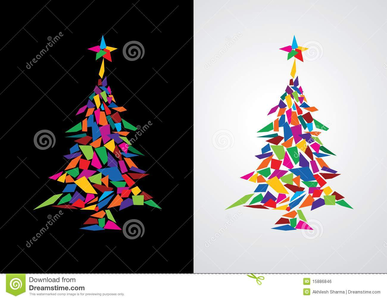 Colorful Christmas.Abstract Colorful Christmas Tree Stock Vector Illustration