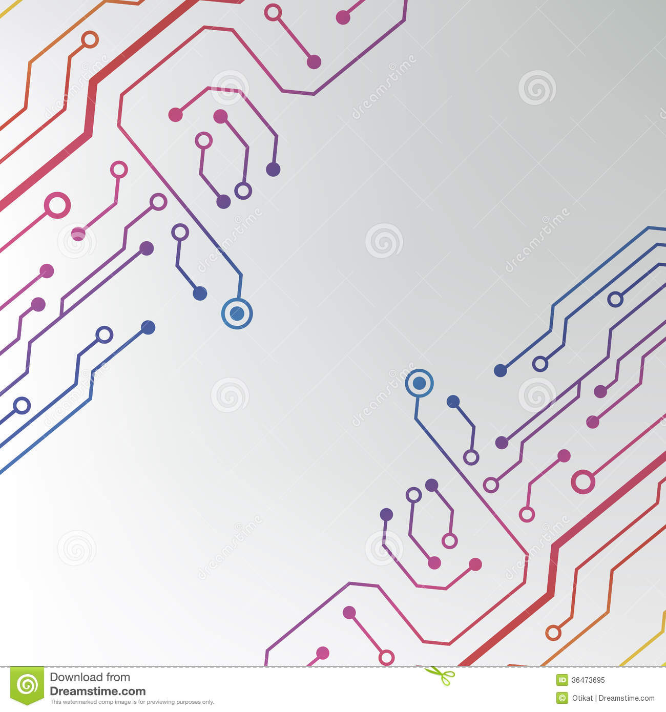 Abstract Colorful Circuit Board Background. Circuit Lined Pattern ...