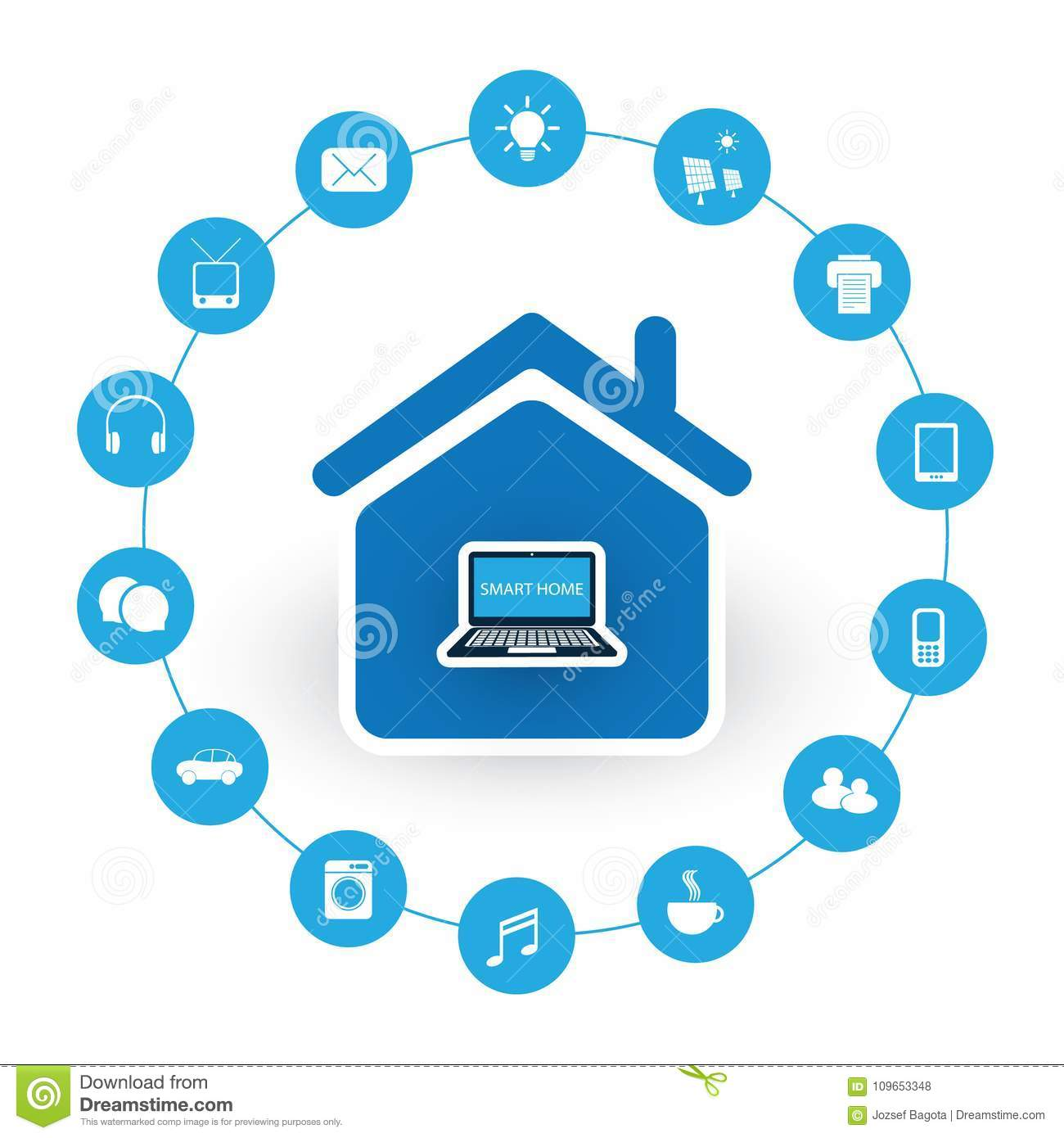 Internet Of Things, Digital Home And Networks Design Concept Stock ...