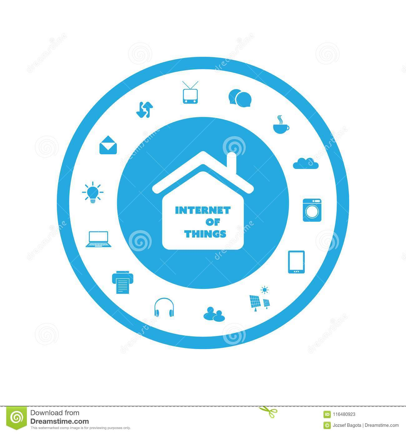 Internet Of Things Concept Design With Various Icons Stock Vector ...