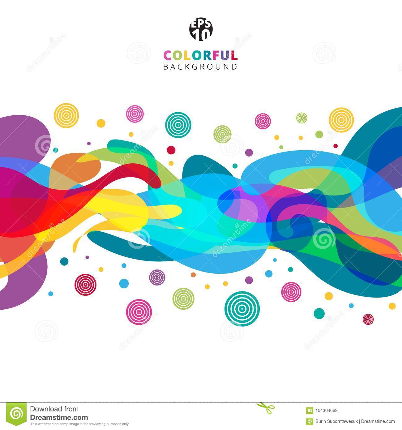 Abstract colorful color splash on white background with copy spa