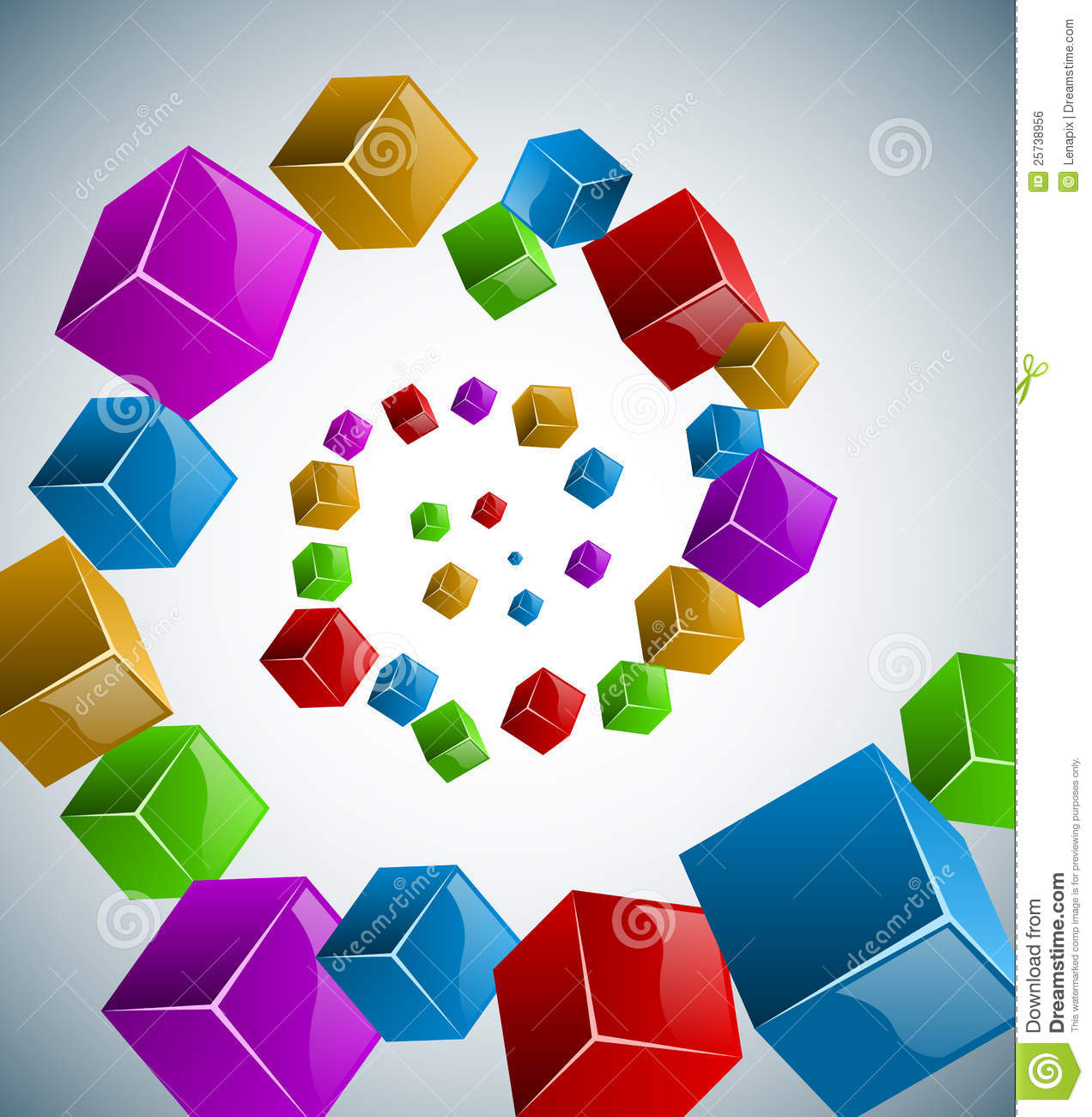 Abstract colorful cubes spiral