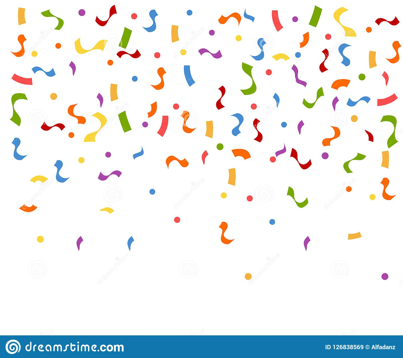 Abstract colorful explosion of confetti. Confetti falling down. Flat vector illustration on white background