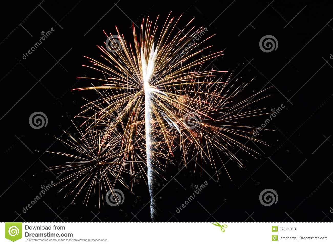 Abstract Colorful fireworks with various colors on dark night backgrounds
