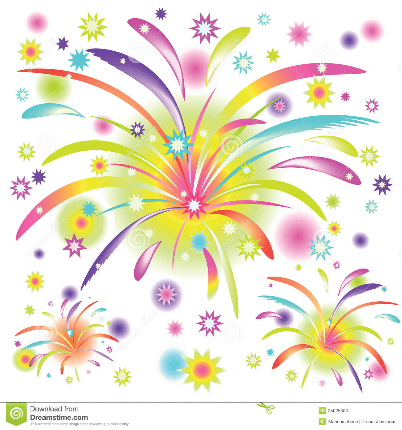 Abstract colorful fireworks on white background with rainbow elements