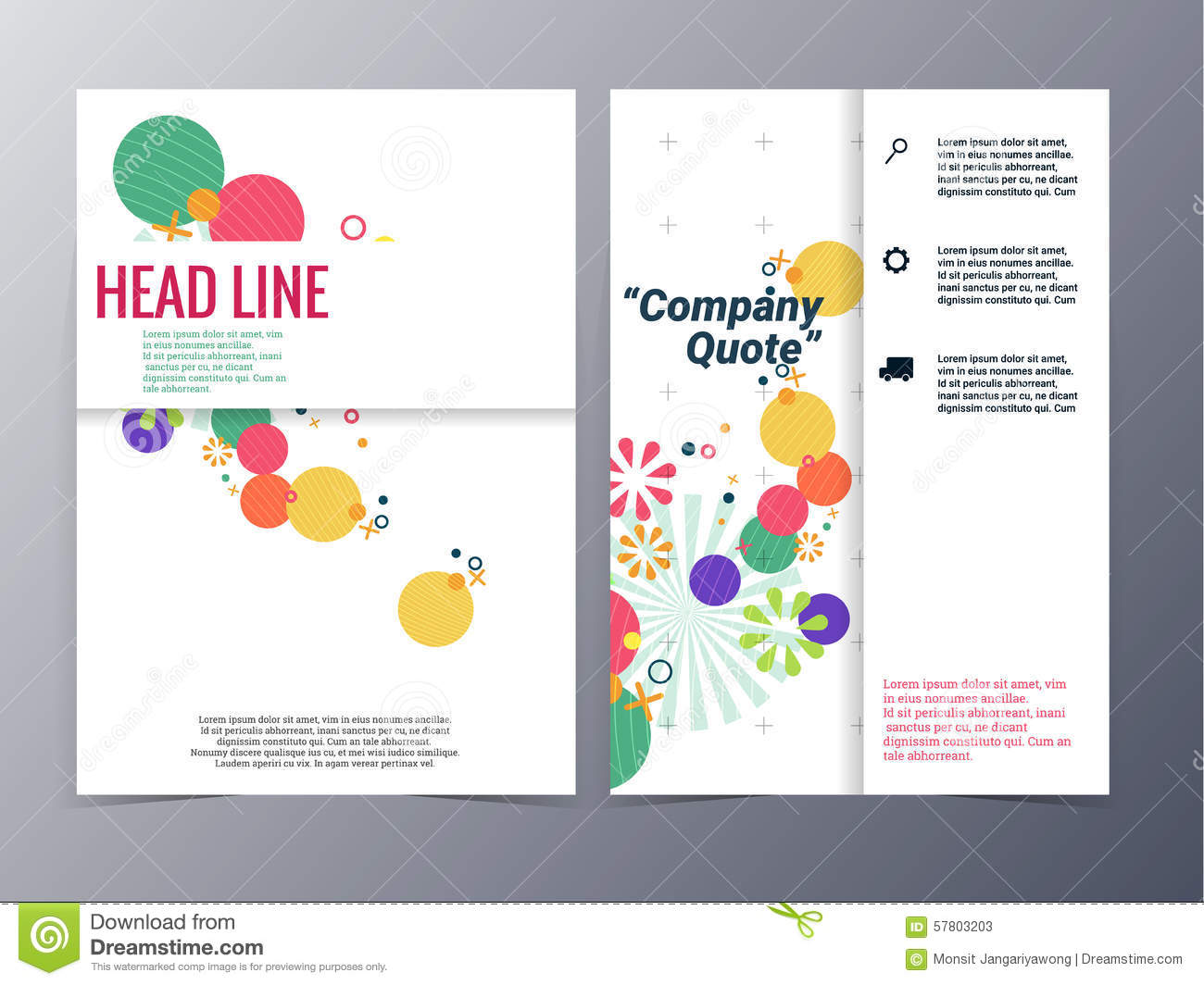 abstract colorful floral shape pattern brochure design