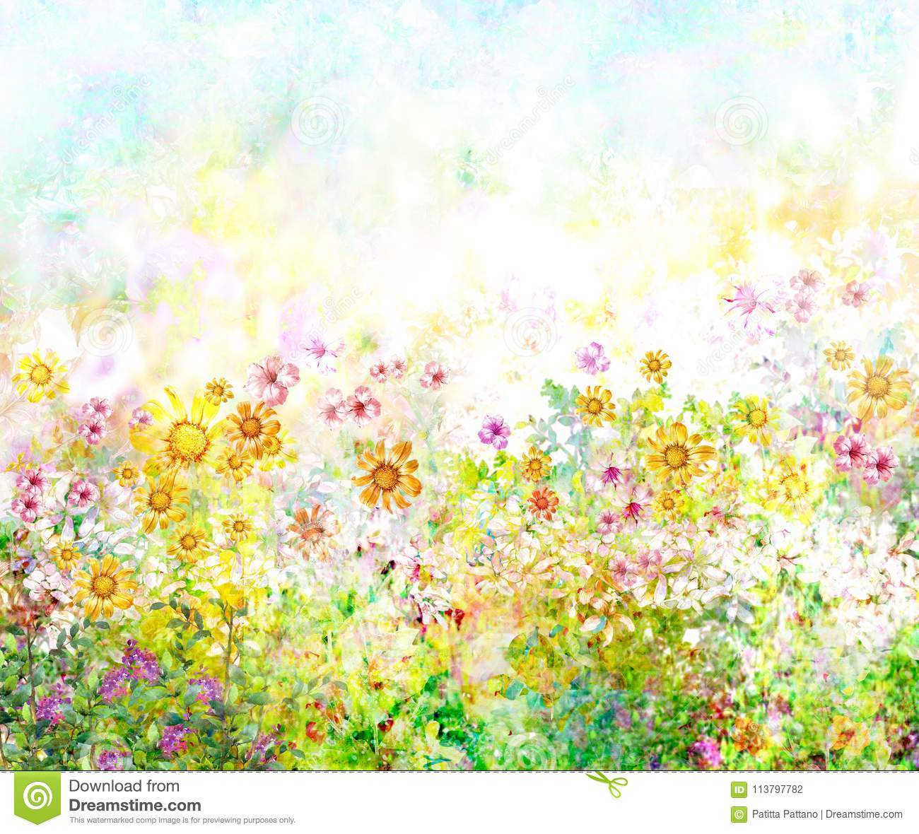 Abstract Colorful Flowers Watercolor Painting Spring Stock