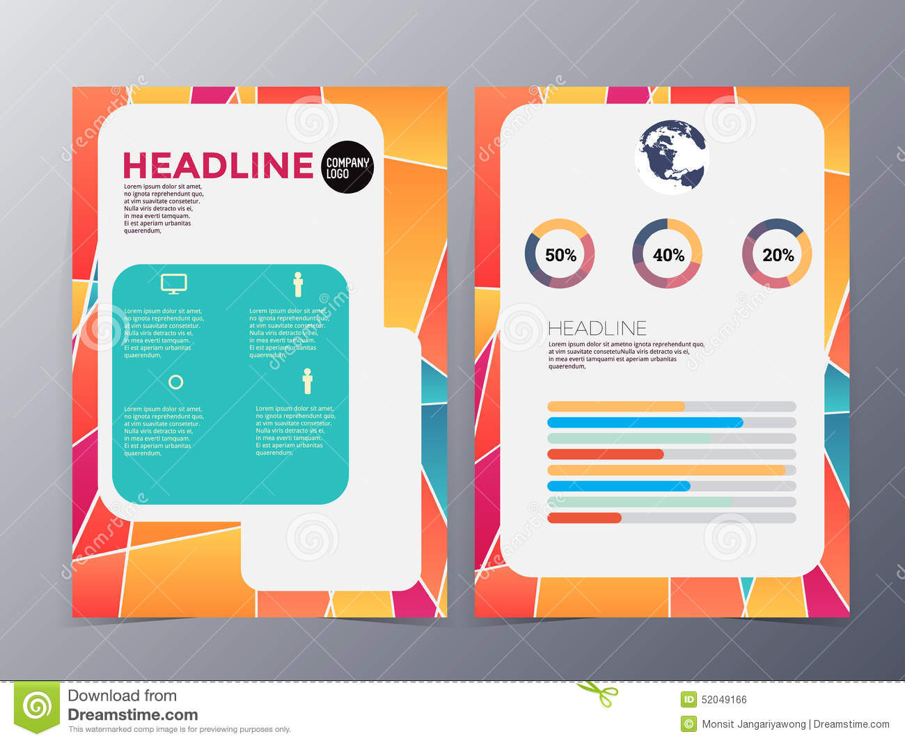 Abstract colorful geometric pattern brochure design for Colorful brochure design