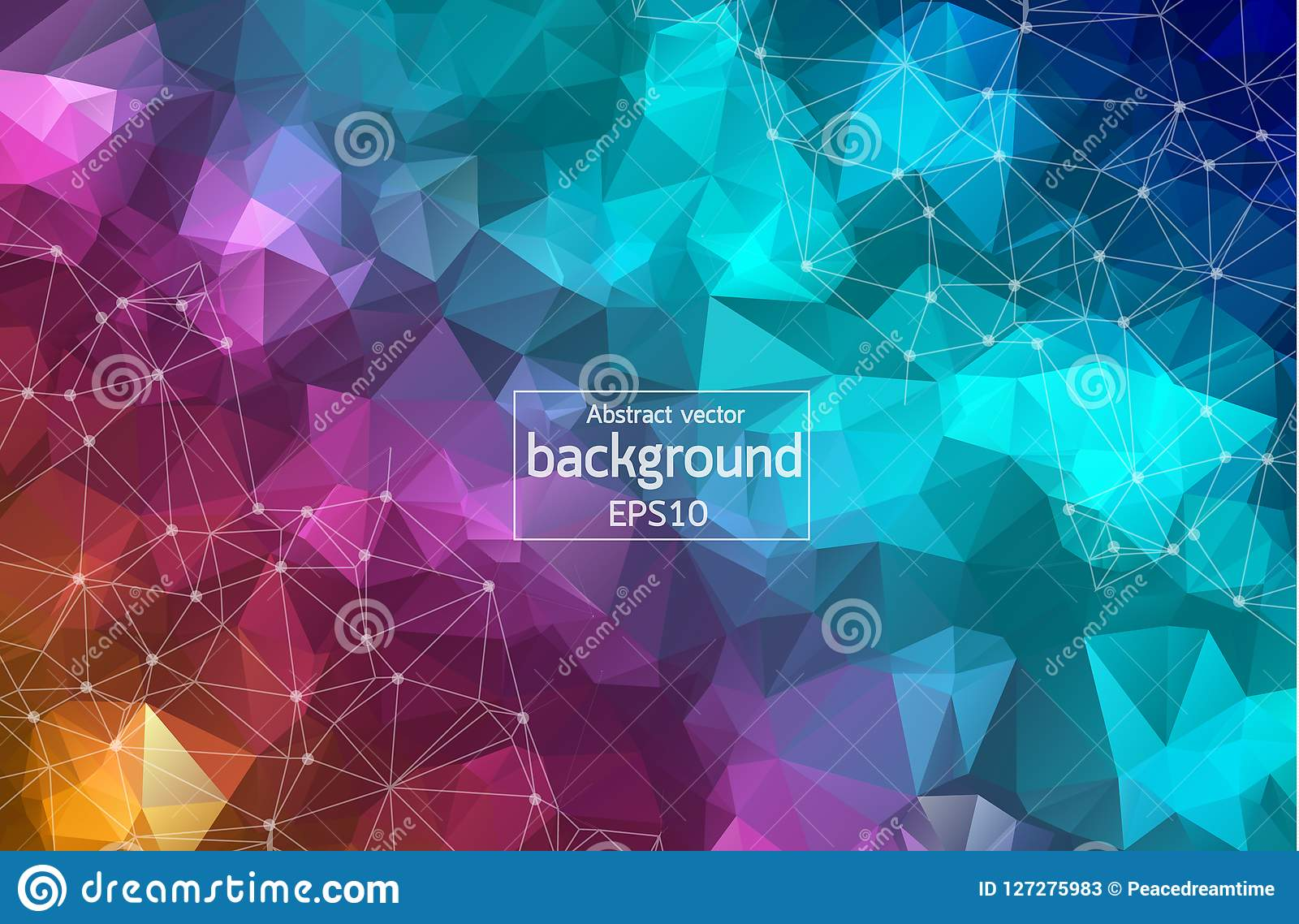 Abstract colorful Geometric Polygonal background molecule and communication. Connected lines with dots. Concept of the science, ch
