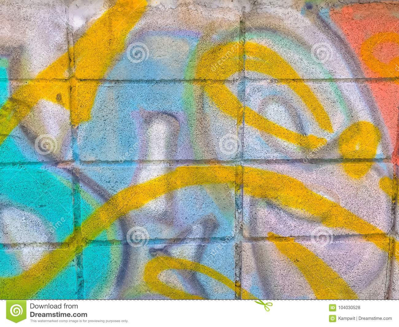 Abstract Colorful Graffiti Art Wall Made By Unknown Artist On Th ...