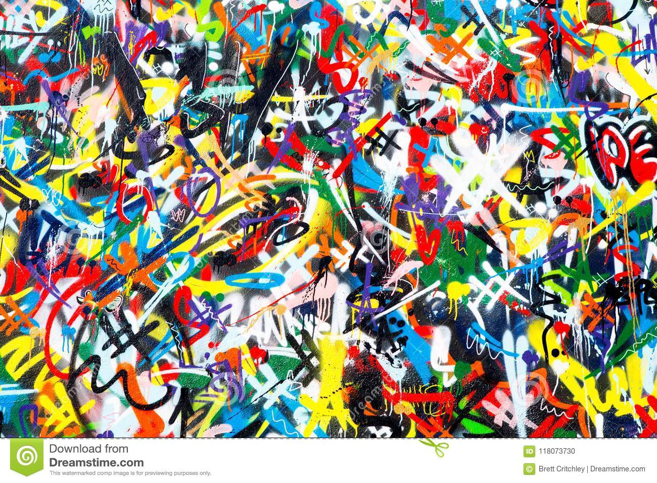 Abstract colorful graffiti wall background