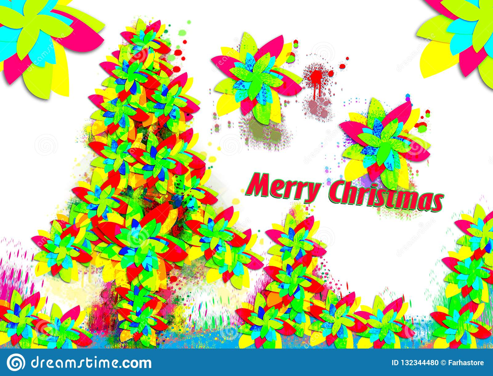 Colorful Christmas Background Design.Colorful Merry Christmas Background Stock Illustration